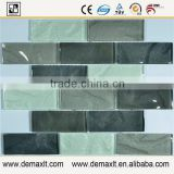Gray white black strip shape cube glass mosaic tile for living room hallway interior wall decoration