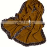 Wholesale Cream Cashmere Cape and Decorated By Rabbit Fur Trim Cape for Fashion Girls