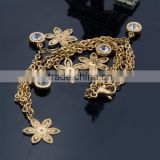 Beautiful Gold Flower Charms Beaded Crystal Bridal Anklet