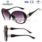 2015 new products on china market fashion high quality shade big round lens metal hinge has flower sunglasses