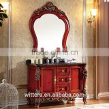 WTS-815 taobao hot sales classic antique large storage bathroom cabinet with double doors in red and golden finish