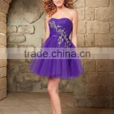 Free shipping appliqued sexy puffy mini cheap layered 2015 purple cocktail dress NCWFpp2131