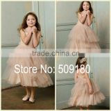 Champagne Layer Sleeveless Tea Length Custom Made Vestidos Girl Dress for Wedding Ball Gown FG022 little girls ball gown dresses