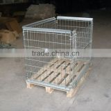 Stackable and Foldable Wire Mesh Container used with wooden pallet