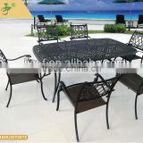 metal dining table 6 seater/set of dining table rectangle cast aluminum/patio dining set