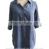 Chambray Denim 3/4 Three-Quarter sleeve Classic Shirt Collar with Side Pocket Blouse Tunic Dress