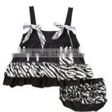 Wholesale zebra black white ruffle sun suit set infant boutique clothing sets baby girl clothes outfits