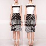 OEM service China wholesale sleeveless white and black elegant new design ladies office dress for ladies 2016