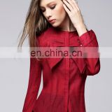 fashion red color bowknot round neck lond sleeves office lady linen shirt blouse