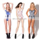 Skeleton Halloween Cosplay Costume Jumpsuit All Over Print Bodysuit Crotchless Swimwear One Piece