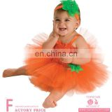 Children's Ruffle Fluffy Tulle Yellow TuTu Dresses Halloween Pumpkin Pettiskirts Dress