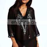 EMBELLISHED DETAIL KAFTAN PONCHO KAFTAN Slim Embroidered Poncho/ Short Kaftan For Women Summer Wear