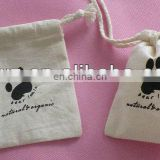 Small drawstring cotton muslin bags