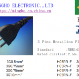 3 PINS Brazilian plug power cord