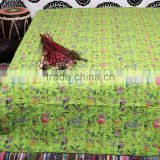 Indian Kantha REVERSIBLE Quilt Queen Green Bedding Cotton Sari Kantha Handstiched Bed Cover