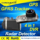 2016 Newest 4 in 1 combo DVR Car camera with Radar detector and GPRS Tracker GPS locator WIFI