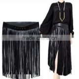Skirt Style Black Fringe Leather Belts for Women 72cm Long Tassel Women Belt