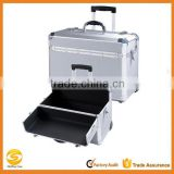 OEM Pro Rolling Jewelry Makeup Case w, Aluminum Cosmetic Box,Silver Aluminum Makeup Artist train case,Beauty Travel trolley case