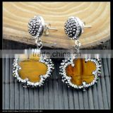 LFD-021E Wholesale For Women Jewelry Tiger's Eye Dangle Earring With Pave Crystal Rhinestone Charm Gems Druzy Earrings