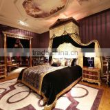 Royal Design Italian Style Bedroom Furniture Set High Back Bed Antique Golden Hand Carving Bed