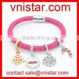 Vnistar New Arrival Magnetic Leather Christmas Charm Bracelet For Women Wholesale TBR004