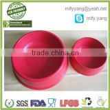 safety pink round pet product eco-friendly bamboo material pet bowl, bamboo fiber pet cat food holder