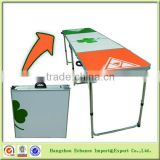 Suitcase design customized folding beer pong table/Aluminum and MDF top with OEM printing