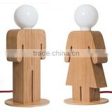 wooden standing girl and boy table lamp hot selling