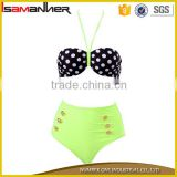 Fluorescent green and dot printing tankini sexy girls bikini swimwear 2016 sexy                                                                                                         Supplier's Choice