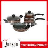6Pcs Non-stick Coating Cookware Sets/Spiral Bottom Cookware Set with Color Box Packing