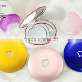 handheld compact Aluminum Foldable makeup mirror/ Portable pocket mirror with handmade crystal decoration