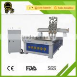 2016 new hot sale high quality stepper vacuum table pneumatic Tool changer multi-head wood engraving machine