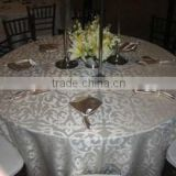 Superb Polyester Taffeta flocking table cloth,table overlay,table runner for weddings                                                                         Quality Choice