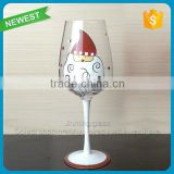 Glass Wine Goblet Cup Drinking Wine Glasses Goblet Handpainted Merry Christmas Gift Glass Goblet Cup
