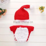 Newborn Baby Christmas Outfit,Cute Baby Bloomer With Hats,Crochet Woolen Photo Costume