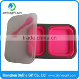 BPA Free 2 Compartment Eco Pink or Blue Folding Silicone Collapsible Food Container                                                                         Quality Choice
