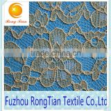 Special product bright gold flower cord lace fabric for wedding dress
