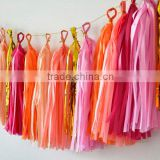 Colored Party Decorations Tissue Paper Tassel Garland Wholesale Paper Pom Poms