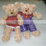 animated brown stuffed plush christmas teddy bear with suit