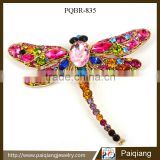 2015 Wholesale fashion valentine gift high quality colorful crystal dragonfly animal brooch