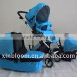 4 wheels baby prams 3 in 1,3 position seat, 5 point safety belt with one touch double shaker.