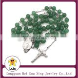 Hot Stainless Steel Religious Green Rare Natural Carnelian Agate Beads & AGATE Virgin Mary Jesus Cross Rosary Prayer Necklace