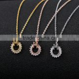 Imitation Diamond Necklace Pendant, Cubic Zirconia CZ Necklace Pendant, Round Simulated Diamond Necklace set