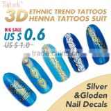 Custom metallic Henna sticker tattoos stencils nail art stickers flash gold temporary tattoos finger tattoos nail tattoos