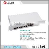 "LY-PP5-29 Network Solution 12 Ports Krone&110 Dual IDC 10""1U STP Cat5e Patch Panel"