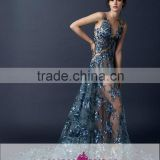 AR-99 Navy Blue Sexy Abendkleider Long Appliques Sleeveless Turquoise Nude See Through Prom Dresses