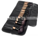 NEW Wood 24Pcs Makeup Brushes Kit Professional Cosmetic Make Up Set + Pouch Bag Case Black