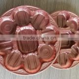 Customized brown/gold chocalate tray/plastic blister candy/meat/vegetable/fruit packaging