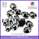 Wholesale Glass Flat Back Sew on Rhinestones in Jet Hematite U3210