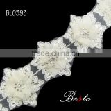 Handmade white chiffon fabric flower trim for bridal decoration
